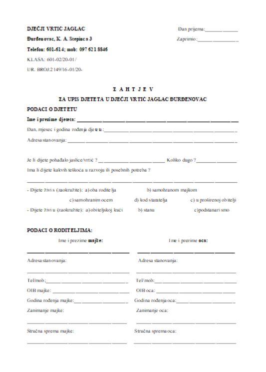 Zahtjev za upis